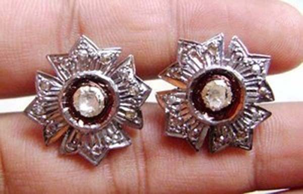 Antique Diamond Earrings 0.6 Ct Uncut Natural Certified Diamond 925 Sterling Silver Engagement