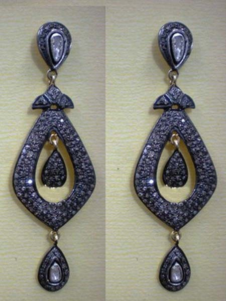 Art Deco Earrings 3.3 Ct Uncut Natural Certified Diamond 925 Sterling Silver Weekend