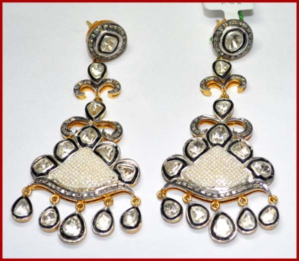Victorian Diamond Earrings 3.3 Ct Uncut Natural Certified Diamond 925 Sterling Silver Vacation