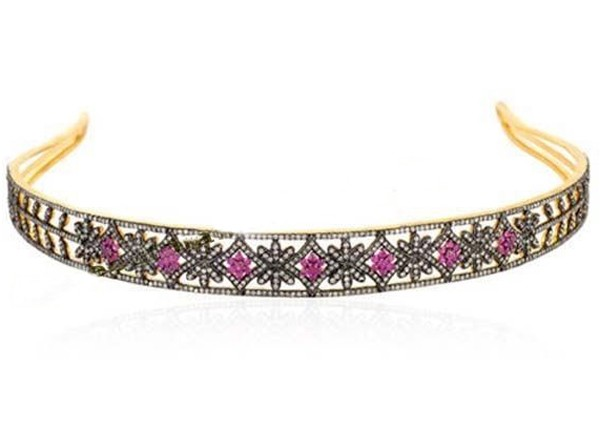Bridal Headband 14.50 Carat Natural Rose Cut Certified Diamond Ruby Sterling Silver Hair Accessories