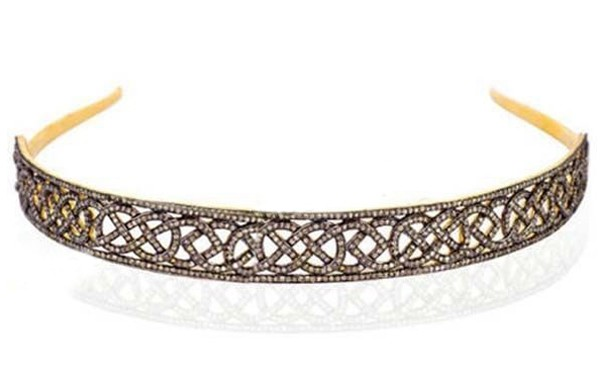 Tiara For Sale 12.00 Carat Natural Rose Cut Certified Diamond Sterling Silver Diamond Tiara