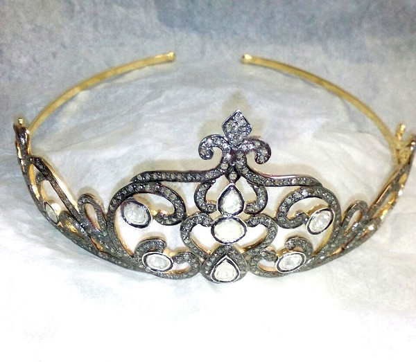 Diamond Tiara 8.30 Carat Natural Rose Cut Certified Diamond Sterling Silver Antique Victorian