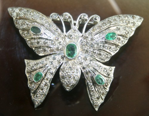 Bridal Brooches 1.46Ct Emerald Sterling Silver Vintage & Antique Jewelry Natural Certified