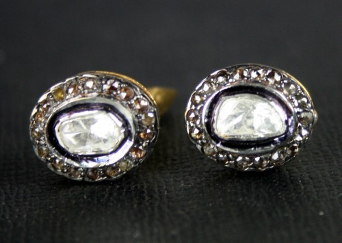 Vintage Style Cufflinks 0.93 Ct Uncut Natural Certified Diamond 925 Sterling Silver Men'Ss Special Occasion