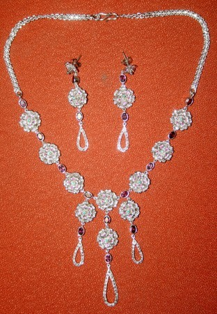 Victorian Necklace 10.12 Carat Natural Certified Diamond & Gemstone Engagement