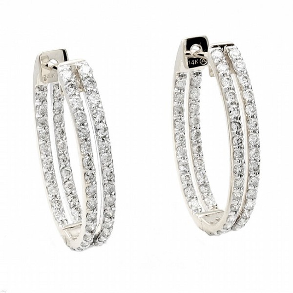 Diamond Hanging Earrings 2.50 Ct Natural Certified Solid Gold