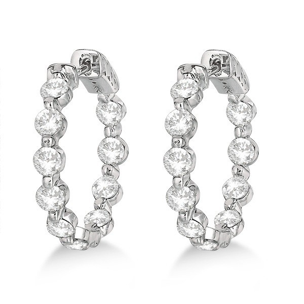 Hoop Earrings 3.00 Ct Diamond Natural Certified Solid White Gold