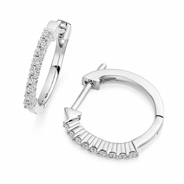 Diamond hoops Earrings 0.80 Ct Natural Certified Solid White  Gold