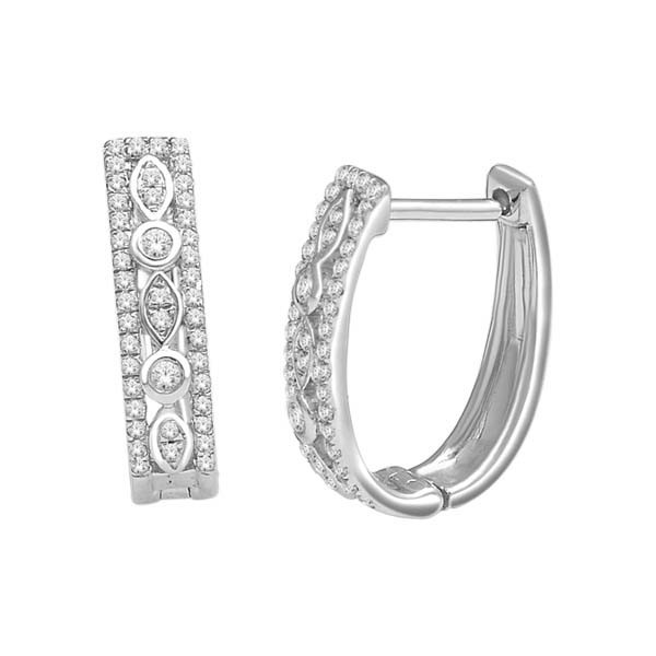 Diamond Hoops 1.10 Ct Natural Certified Solid White Gold Wedding