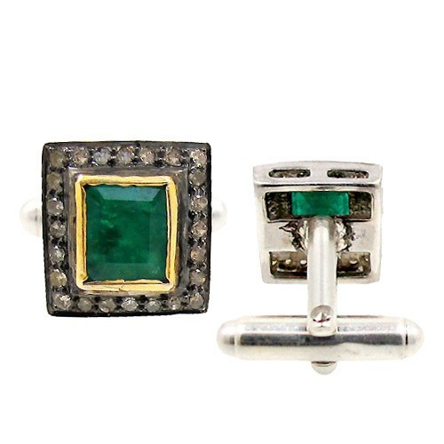 Vintage Diamond Cufflinks 1.00 Ct Natural Certified Diamond 1.00 Ct Emerald 925 Sterling Silver Party