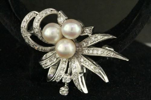 Bridal Brooches 1.00 Ct 1.50 Ct Pearl Gold Wedding Fine Jewelry Natural Certified