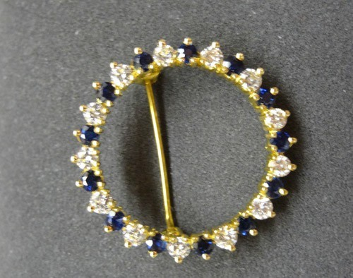 Diamond Brooch 0.75 Ct Blue Sapphire Gold Wedding Fine Jewelry Natural Certified