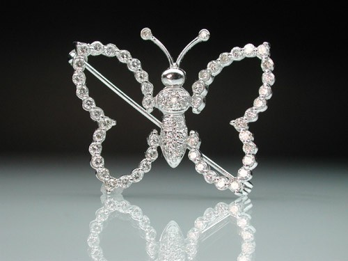 diamond brooch for wedding dress 1.20 Ct solid White Gold Butter Fly Fine Jewelry Natural Certified