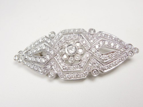 Bridal Brooch 2.00 Ct solid White Gold Wedding Fine Jewelry Natural Certified