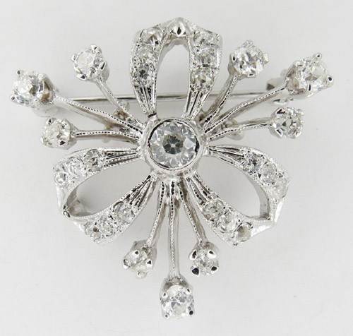 Diamond Brooch 1.50 Ct solid White Gold Wedding Fine Jewelry Natural Certified