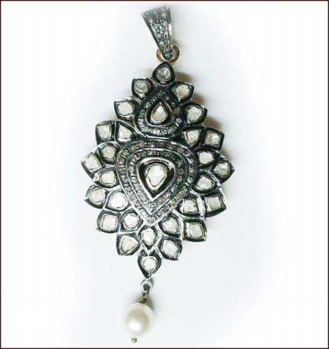 Polki Pendant 3.30 Ct Uncut Natural Certified Diamond 2.50 Ct Pearl 925 Sterling Silver Engagement