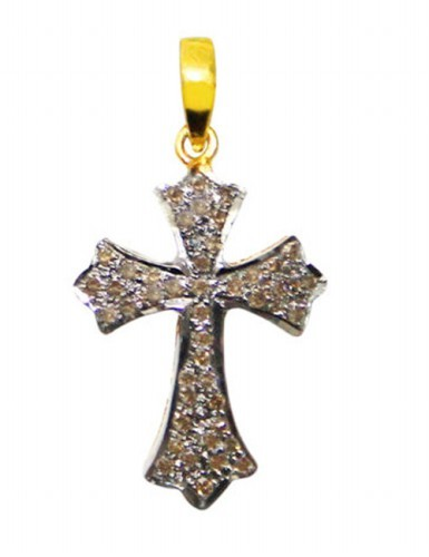 Antique Diamond Pendant 0.85 Ct Natural Certified Diamond 925 Sterling Silver Cross Festive