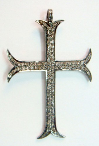 Victorian Pendant 2.00 Ct Natural Certified Diamond 925 Sterling Silver Cross Workwear