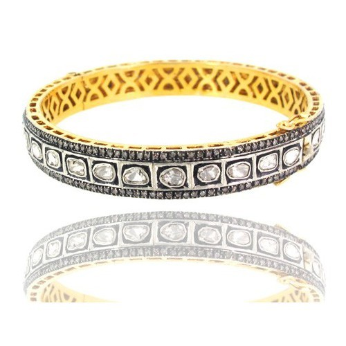 Vintage Bangles 7.85 Ct Uncut Natural Certified Diamond 925 Sterling Silver Engagement