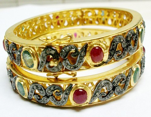 Vintage Diamond Bangle 3.85 Ct Natural Certified Diamond 4.50 Ct Emerald Ruby 925 Sterling Silver Festive