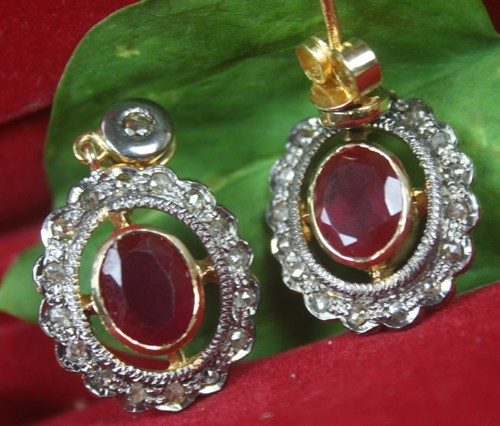 Victorian Diamond Earrings 0.65 Ct Natural Certified Diamond Ruby 925 Sterling Silver Anniversary