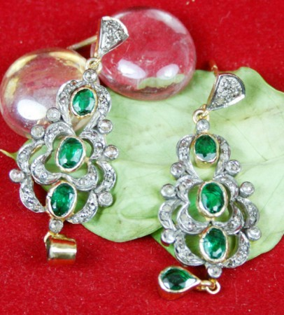 Antique Drop Earrings 2.20 Ct Natural Certified Diamond Emerald 925 Sterling Silver Engagement