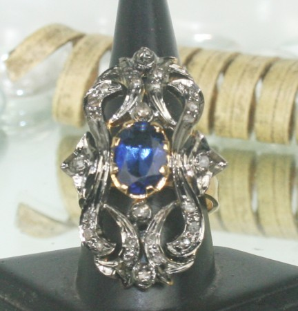 Vintage Inspired Wedding Rings 0.50 Ct Natural Certified Diamond B.Sapphire 925 Sterling Silver Special Occasion