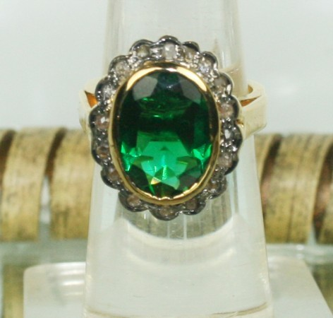 Polki Rings 0.35 Ct Natural Certified Diamond Emerald 925 Sterling Silver Anniversary