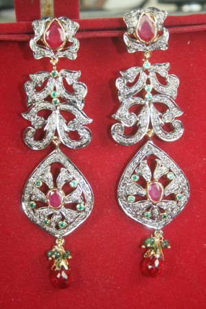 Antique Earrings 3.25 Ct Natural Certified Diamond Gemstone 925 Sterling Silver Workwear