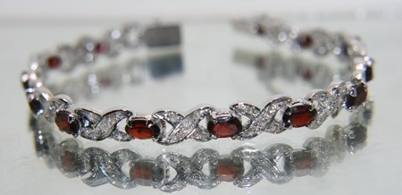 Art Deco Bracelet 2.50 Ct Natural Certified Diamond Garnet 925 Sterling Silver Vacation