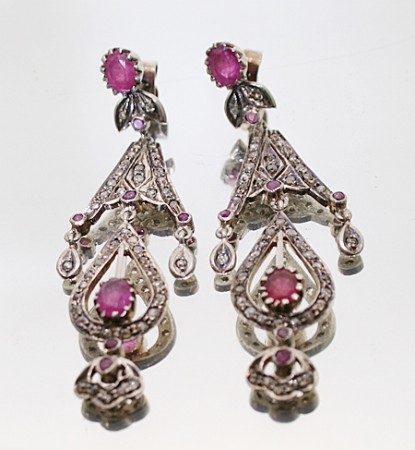 Art Deco Earrings 1.62 Ct Natural Certified Diamond Ruby 925 Sterling Silver Special Occasion