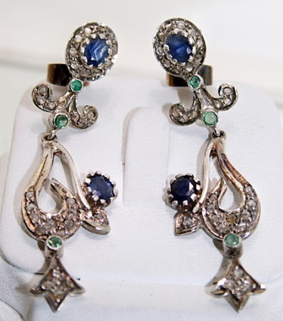 Victorian Diamond Earrings 1.02 Ct Natural Certified Diamond Emerald Sapphire 925 Sterling Silver Engagement