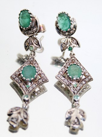Antique Drop Earrings 1.15 Ct Natural Certified Diamond Emerald 925 Sterling Silver Wedding