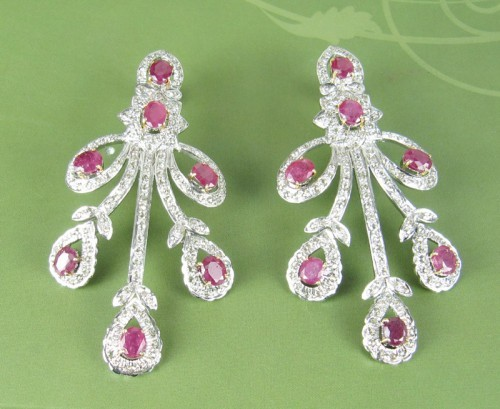 Uncut Earrings 4.50 Ct Natural Certified Diamond Ruby 925 Sterling Silver Chandelier Party