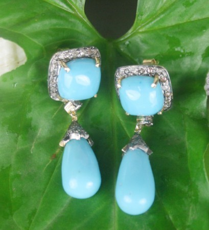 Art Deco Earrings 1.25 Ct Natural Certified Diamond Turquoise Office Wear