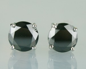 Black Diamonds Earriings Studs 3.00 Ct  Diamond Round Shape Sterling Silver   Certified