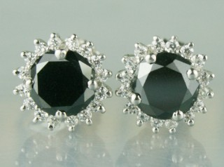Black and White Diamond Wedding Earrings 3.19 Ct   Round Diamond Sterling Silver Wedding Ear