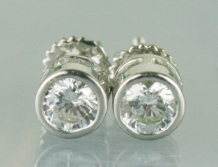 White  Stone Engagement Earrings 1.72 Ct White Round Diamond Sterling Silver Wedding