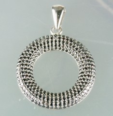 Black Diamond Pendnat 3.13 Ct Black & White Round Diamond Sterling Silver Wedding Pendant