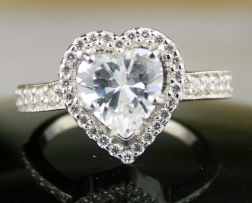 Engagement Ring Style 4.17 Ct Heart Shape Diamond Sterling Silver Solitaire Anniversary