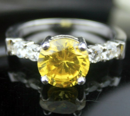Engagement Ring prices 4.23 Ct Yellow Diamond Round Shape Sterling Silver Wedding s