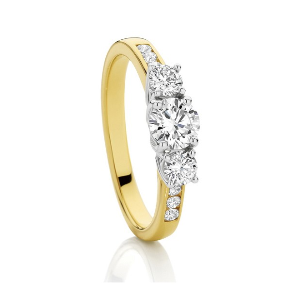 0.75 Ct Solitaire Certified Diamond Wz Accent Solid Yellow Gold Ring Wedding