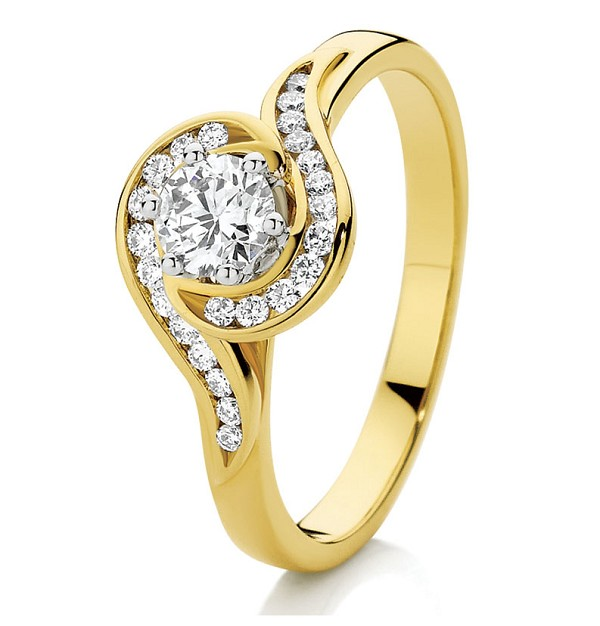 1.07 Ct Solitaire Certified Diamond Wz Accent Solid Yellow Gold Ring Wedding