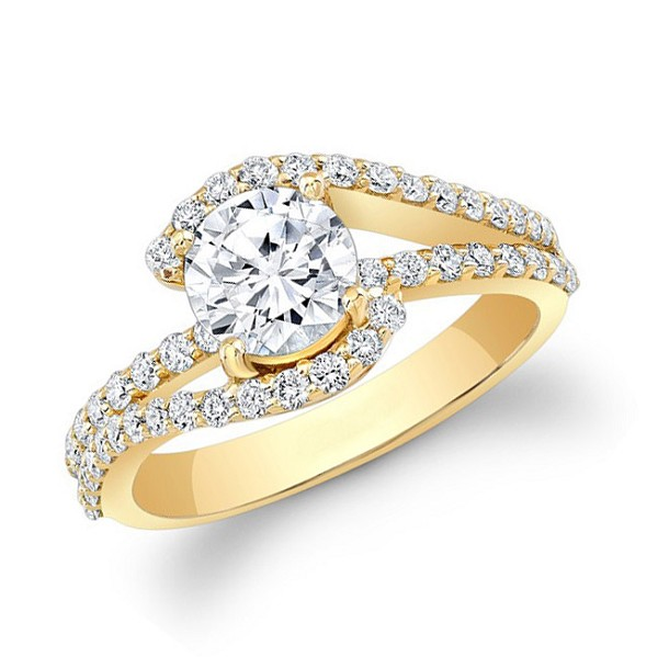 1.25 Ct Solitaire Certified Diamond Wz Accent Solid Yellow Gold Ring Wedding