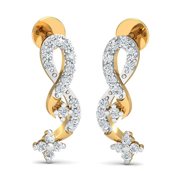 Gold Diamond Earrings 0.36 Ct Natural Certified Festive
