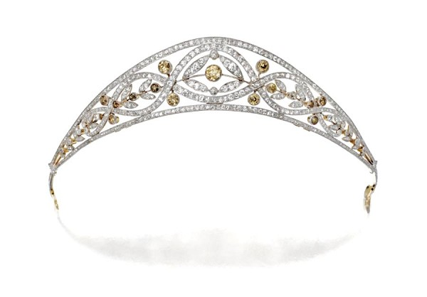 Certified Diamond Gold Tiara 10.00 Ct Natural Certified Diamond Turmalina 14K White Gold Headband