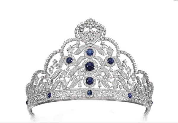Queen Crown 60.50 Ct Natural Certified Diamond Iolite 14K White Gold Bridal Hair Accessories