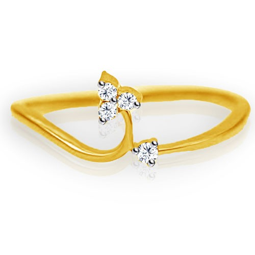 Womens Diamond Rings Natural Round Certified Diamond 0.1 Ct Solid Gold  Office Wear