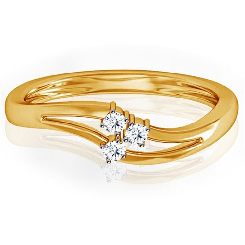 Ladies Diamond Ring Natural Round Certified Diamond 0.06 Ct Solid Gold  Workwear