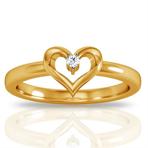 Gold With Diamond Ring Natural Round Certified Diamond 0.04 Ct Vacation